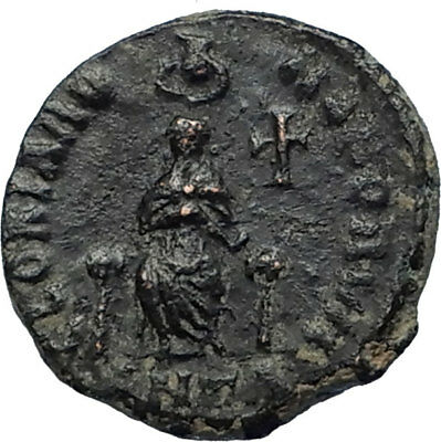 EUDOXIA Arcadius Wife 400AD Authentic Ancient Roman Coin GOD's HAND CROSS i67312