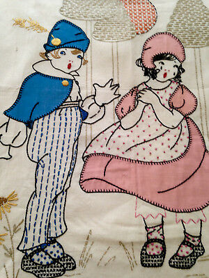ANTIQUE 20s DECO HAND EMBROIDERED APPLIQUED BOY & GIRL CRIB COVER
