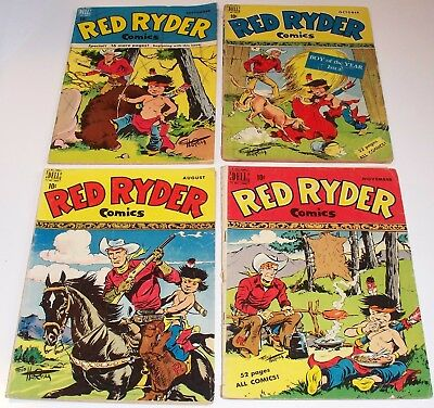 RED RYDER Comics lot of FOUR! No.'s 73 - 76. Dell Comics 1949. Little Beaver!
