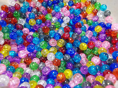 40 x loose crackle glass beads round, 6mm approx with 1mm hole various colours