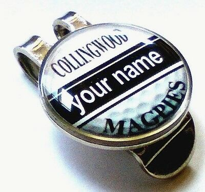 anneys - your OWN PERSONALISED  ** Magpies ** golf ball marker + HAT clip!