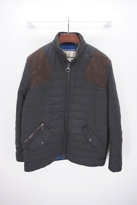 BARBOUR Bullfinch Quilted Jacket Coat Brown Poly Leather Trim - XL