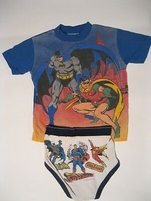 VTG 80's Made in USA Batman & Robin Kid's shirt with Batman Underwear