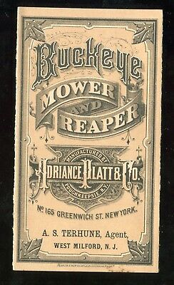 Poughkeepsie NY Adriance Platt & Co Buckeye Mower Reaper 4 Panel Fold Trade Card