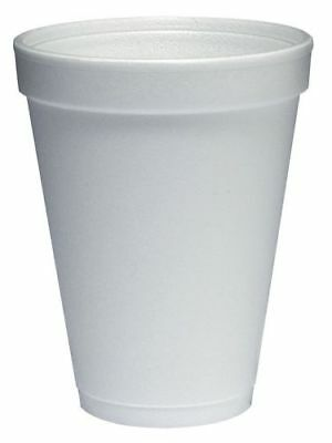 Dart 12 oz. Disposable Cold/Hot Cup, Polystyrene Foam, White, 1000 cups - 12J12