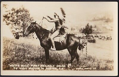Native American Indian RPPC Sioux Chief White Bull Photograph Post Card Photo