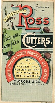 Springfield OH EW Ross & Co Ross Cutters Ensilage & Feed 4 Panel Fold Trade Card
