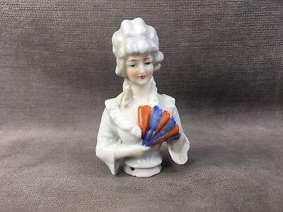 Antique Victorian German Porcelain Pin Cushion Half Doll W/fan