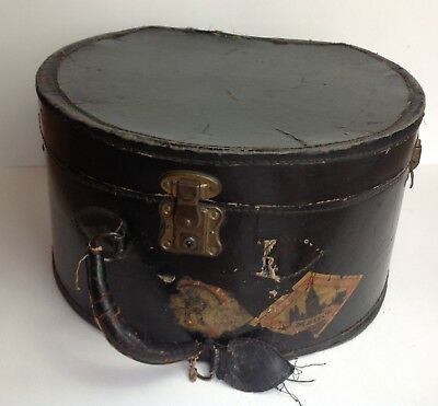 Large 1900s ANTIQUE HAT BOX Case Train Travel Luggage Mainz Label Leather Handle