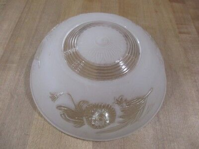 Vintage Art Deco 3 Hole Hanging Ceiling Light Fixture Shade White Frosted Clear>