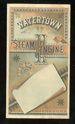 Watertown NY Steam Engine Company Rare 4 Panel Folding Trade Card Awesome!!