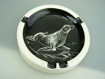 Studio Anna pottery ashtray hand painted Kangaroo Island with seal