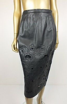 Vintage 80S George Gross Leather Skirt Black Pencil High Waist Skirt 12
