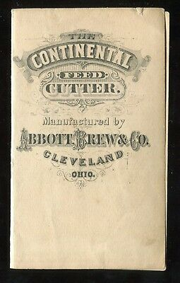 Cleveland OH Abbott Brew & Co Continental Feed Cutter 2 Panel Folding Trade Card