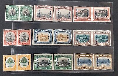 SOUTH WEST AFRICA 1927 1/2d to 10s SG 45 - 47 49 - 54 Sc 85 - 93 set 9 MLH/MH