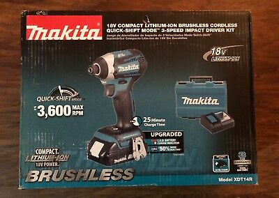 New Makita 18-Volt LXT Compact Lithium-Ion Brushless Impact Driver (2 Batteries)