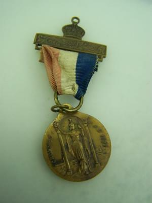 1937 Coronation Medallion & ribbon King George V Queen Elizabeth 2397