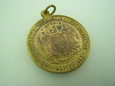 1937 Coronation Medallion George VI Queen Elizabeth from people of Victoria 2394
