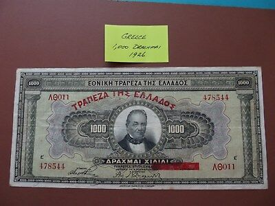 "1926 - Paper Banknote- ""GREECE"" - 1,000 Drachmai - TOP Note for Age"