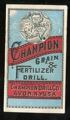 Avon NY Tanunda SA Champion Drill Co Grain Fertilizer Drill 16 Pg Vict Booklet!