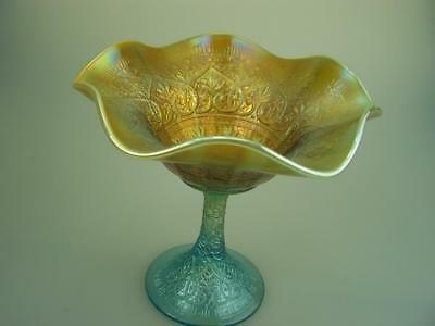 Northwood carnival glass Hearts and Flowers comport compote aqua opalescent