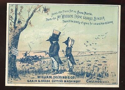 Chicago IL William Deering & Co Grain Grass Cutting Machinery Vict Trade Card!