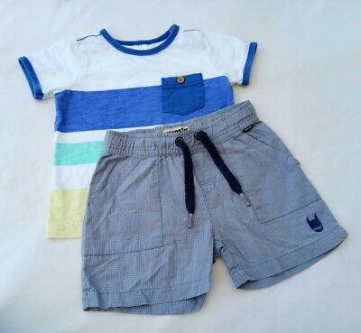 Target Munster Boys Outfit Size 1 Blue White Striped T-shirt Check Shorts Set