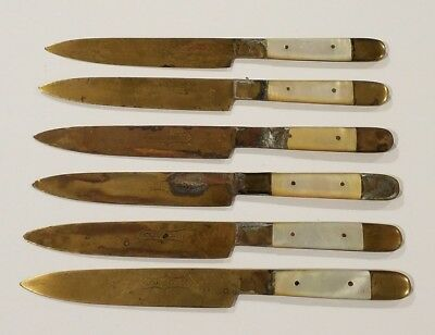 Lot of 6 Uchatius Bronce Antique / Vintage Collectible Brass Knives - Rare Set