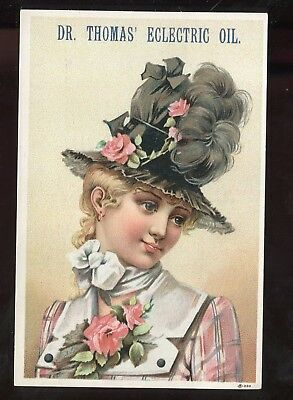 Dr. Thomas' Electric Oil Large Victorian Trade Card Vict Lady Cure Everything!!