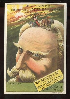 Chicago IL Wm Deering & Co Grain & Grass Cutting Machinery Gulliver Trade Card!