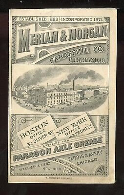 Cleveland OH Meriam & Morgan Parafine Co Paragon Axle Grease 2 Panel Trade Card!