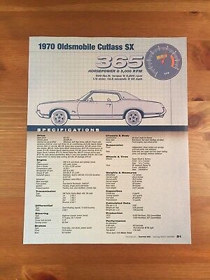 1970 Oldsmobile Cutlass Sx Specification Sheet Magazine Ad