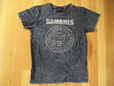 Ramones Charcoal Black Distressed Look Unisex T Shirt Size Xs Brand New