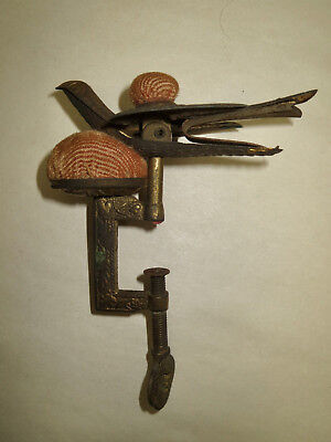 Antique Victorian Ca 1880 Brass Sewing Bird Clamp Original Velvet Pin Custions
