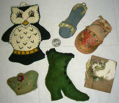 3 1900 ANTIQUE HANDMADE PINCUSHIONS + 2 NEEDLE BOOKS,also 1 OWL PIN KEEPER-1940s