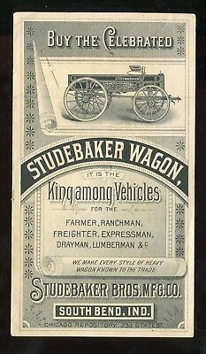 South Bend IN Studebaker Bros Mfg Co Studebaker Wagon Rare 2 Panel Trade Card!!