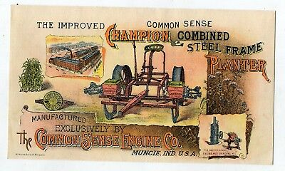Muncie IN The Common Sense Engine Co Champion Steel Planter Victorian Trade Card