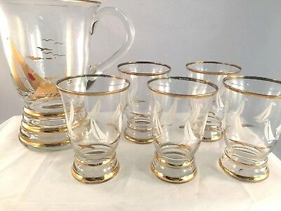 Art Deco Glass Jug Gold trim & Sail Boat Motif with 5 Rocks Glasses Tumblers