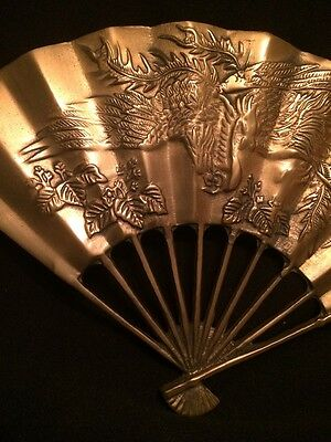 Vintage!  Chinese Dragon & Phoenix Beautifully Carved Brass Fan Wall Decoration