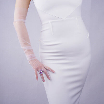 Tulle Long Gloves Lace Mesh Semi Sheer Touchscreen Bridal Wedding White Ivory