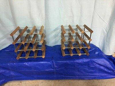 2 x 12 Bottle Timber Wine Racks