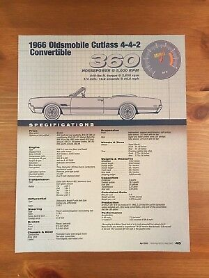 1966 Oldsmobile Cutlass 4-4-2 Convertible Specification Sheet Magazine Ad