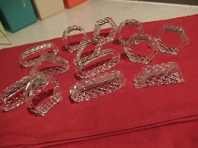 13 VINTAGE NAPKIN RING / HOLDERS ~~CRYSTAL and/or CUT GLASS, DIAMOND PATTERNS
