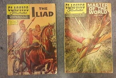 Classics Illustrated #77 The Illiad (1950)#163 Master of the World (1961)12 Pics