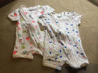 2 X Cotton On Baby Zippies - Size 00 (suits 000)