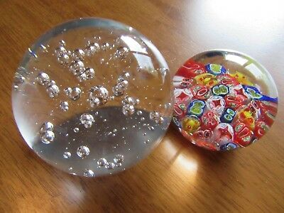 2 Vintage Art Glass Paperweights,millefiori & Large Clear With Bubbles