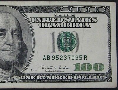 1996 $100 (One Hundred Dollars) – Note, Bill – Fancy Serial Number – Bookends
