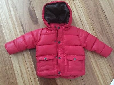 New Zara Baby Boys Girls Red Puffer Jacket 12-18M