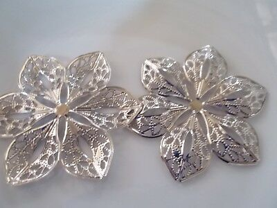 4 x silver tone filligree flower embellishments 6cm across scrapbooking crafting