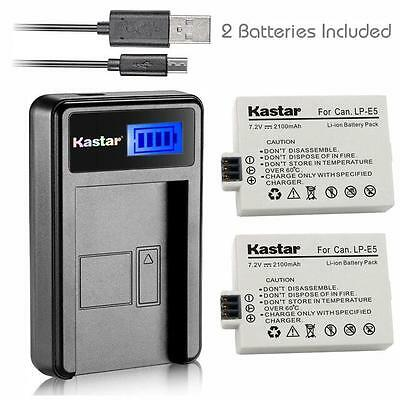 LP-E5 Battery& LCD1 SLIM Charger for Canon Rebel XS XSi T1i, EOS 450D 500D 1000D